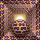 Optical motion illusion illustration. A sphere are moving through square tunnel. Purple clouds on golden objects. Abstract fantasy in a surreal style Royalty Free Stock Images