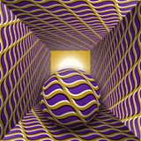Optical motion illusion illustration. A sphere are moving through square tunnel. Purple waves on golden objects. Abstract fantasy in a surreal style Stock Images