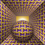 Optical motion illusion illustration. A sphere are moving through square tunnel. Purple bows on golden objects. Abstract fantasy in a surreal style Royalty Free Stock Photography