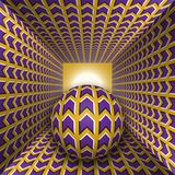 Optical motion illusion illustration. A sphere are moving through square tunnel. Purple arrows on golden objects. Abstract fantasy in a surreal style Stock Photography