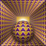 Optical motion illusion illustration. A sphere are moving through square tunnel. Purple arrows on golden objects. Abstract fantasy in a surreal style Stock Image