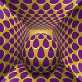 Optical motion illusion illustration. A sphere are moving through square tunnel. Purple drops on golden objects. Abstract fantasy in a surreal style Royalty Free Stock Image