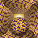 Optical motion illusion illustration. A sphere are moving through square tunnel. Purple lightnings on golden objects. Abstract fantasy in a surreal style Stock Photos