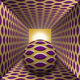 Optical motion illusion illustration. A sphere are moving through square tunnel. Purple pointed ellipses on golden objects. Abstract fantasy in a surreal style Stock Photography