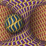 Optical motion illusion illustration. A sphere are rotation around of a moving hyperboloid. Abstract fantasy in a surreal style Royalty Free Stock Images