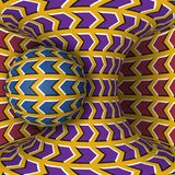 Optical motion illusion illustration. A sphere are rotation around of a moving hyperboloid. Abstract fantasy in a surreal style Stock Image