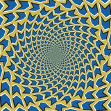 Optical motion illusion vector background. Blue arrows flock together circularly. From the center on yellow background Stock Image