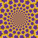 Optical motion illusion vector background. Purple six pointed stars flock together circularly from the center on yellow background.  royalty free illustration