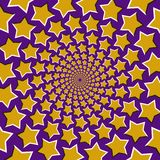 Optical motion illusion vector background. Yellow five pointed stars fly apart circularly from the center on blue background.  royalty free illustration