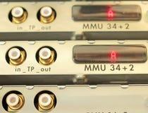 Optical multiplexer in the server room mobile operator. Digital equipment of communication for data transmission. Multiplexers of last generation the modern stock photo