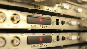 Optical multiplexer in the server room mobile operator Stock Image