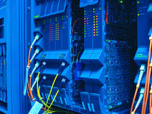 Optical network cables and servers Royalty Free Stock Photography