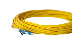 Optical patch cord. Royalty Free Stock Photos
