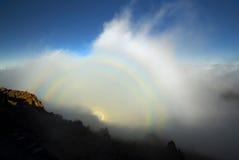 Optical phenomenon, Haleakala National Park, Maui, Hawaii. Optical phenomenon, know as a Brocken spectre or Mountain Spectre, Haleakala National Park, Maui stock photos