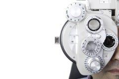Optical phoropter. Closeup of eyesight measurement with a optical phoropter Stock Photos