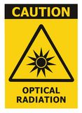 Optical radiation hazard caution safety danger warning text sign sticker label, artificial light beam icon symbol, isolated black stock illustration