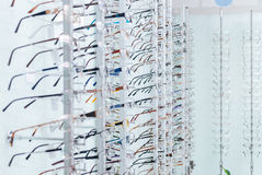 Optical store, the selection of eyeglass frames Stock Images