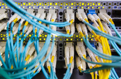 Optical switch and colorfull FC cables Stock Photo