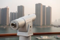 Optical telescope on deck of cruise ship royalty free stock photography