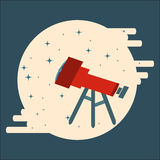 Optical telescope observing stars in circle flat style Stock Photography