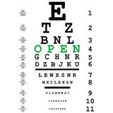 Optical test with open text Royalty Free Stock Photo
