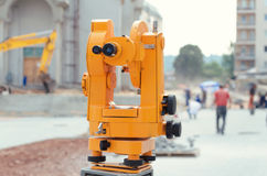 Optical theodolite construction site. Optical theodolite on construction site Royalty Free Stock Images