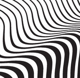 Optical wave  abstract striped background black and white Royalty Free Stock Photo