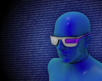 Optical wearable computer. Illustration of a stylized human character using a wearable computing eyeglasses device on a blue background where ones and zeros are Stock Photos
