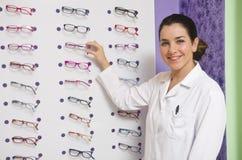 Optical woman Stock Image