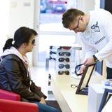 Optician and customer Stock Photo