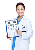 Optician doctor finger point to eye chart Royalty Free Stock Photography