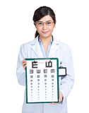 Optician with eye chart Stock Images