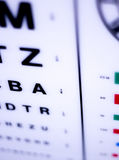 Optician eye test chart. Opticians ophthalmology and optometry eye test chart to test sight and vision for patients with eyesight issues stock image