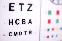 Optician eye test chart. Opticians ophthalmology and optometry eye test chart to test sight and vision for patients with eyesight issues royalty free stock photo