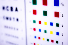 Optician eye test chart. Opticians ophthalmology and optometry eye test chart to test sight and vision for patients with eyesight issues stock photos
