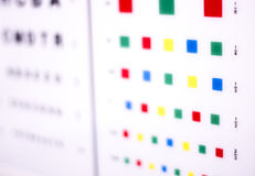 Optician eye test chart. Opticians ophthalmology and optometry eye test chart to test sight and vision for patients with eyesight issues stock photo
