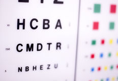 Optician eye test chart. Opticians ophthalmology and optometry eye test chart to test sight and vision for patients with eyesight issues royalty free stock photos
