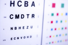 Optician eye test chart. Opticians ophthalmology and optometry eye test chart to test sight and vision for patients with eyesight issues royalty free stock images