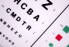 Optician eye test chart. Opticians ophthalmology and optometry eye test chart to test sight and vision for patients with eyesight issues stock images
