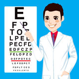 Optician Man Pointing. Portrait illustration of young handsome optometrist man pointing to snellen test vision chart Royalty Free Stock Photos