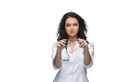 Optician or oculist woman Royalty Free Stock Photo