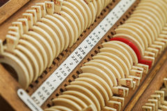 Optician with set of trial frames and trial lenses Stock Images