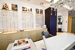Optician shop with frames Stock Images