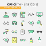 Optician Thin Line Icons Set with Optometry Technology and Eyeglasses Stock Photo