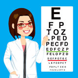 Optician Woman Pointing. Portrait illustration of young pretty optometrist woman pointing to snellen test vision chart Stock Photography