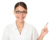 Optician woman pointing and showing Stock Photography