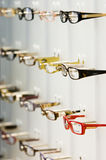 Opticians Shop. A display of various frames for spectacles in an opticians shop Stock Images
