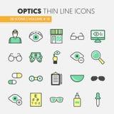 Opticien Thin Line Icons dat met Optometrietechnologie en Oogglazen wordt geplaatst Stock Foto