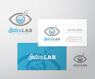 Optics Lab Abstract Vector Logo Template and Business Card Layout. Scientific Flask Incorporated into Eye Symbol. Ready. Made Stationary Design stock illustration
