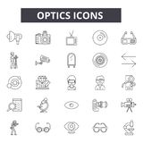 Optics line icons, signs, vector set, outline illustration concept. Optics line icons, signs, vector set, outline concept illustration stock illustration